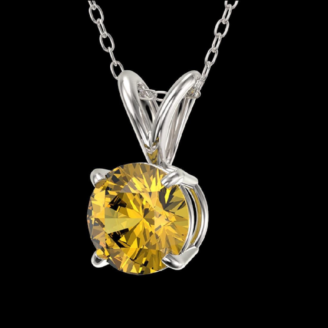 0.73 CTW Certified Intense Yellow SI Diamond Solitaire - 2