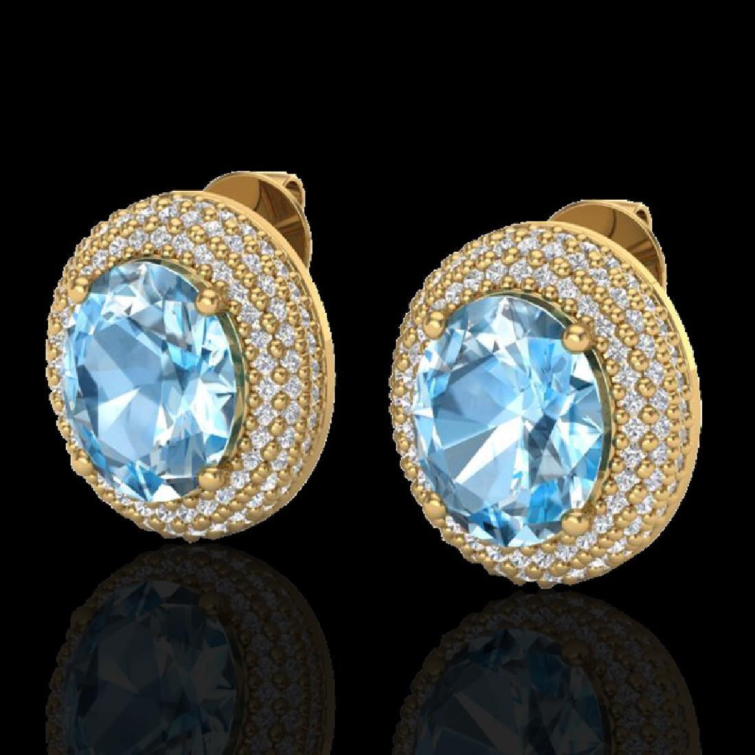 10 CTW Sky Blue Topaz & Micro Pave VS/SI Diamond