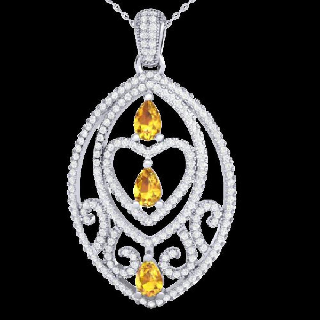 3.50 CTW Yellow Sapphire & Micro VS/SI Diamond Heart
