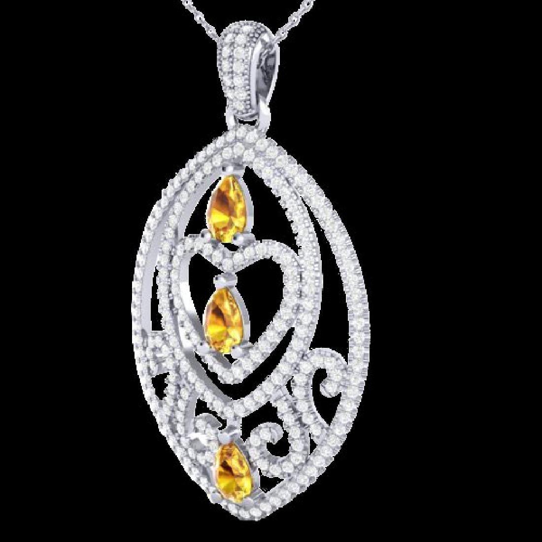 3.50 CTW Yellow Sapphire & Micro VS/SI Diamond Heart - 2