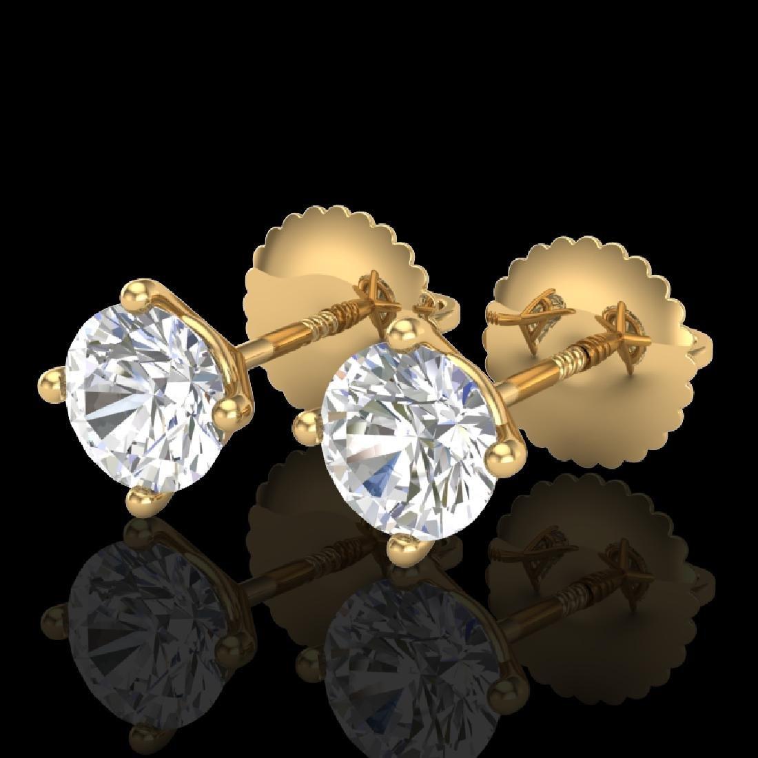 1.01 CTW VS/SI Diamond Solitaire Art Deco Stud Earrings