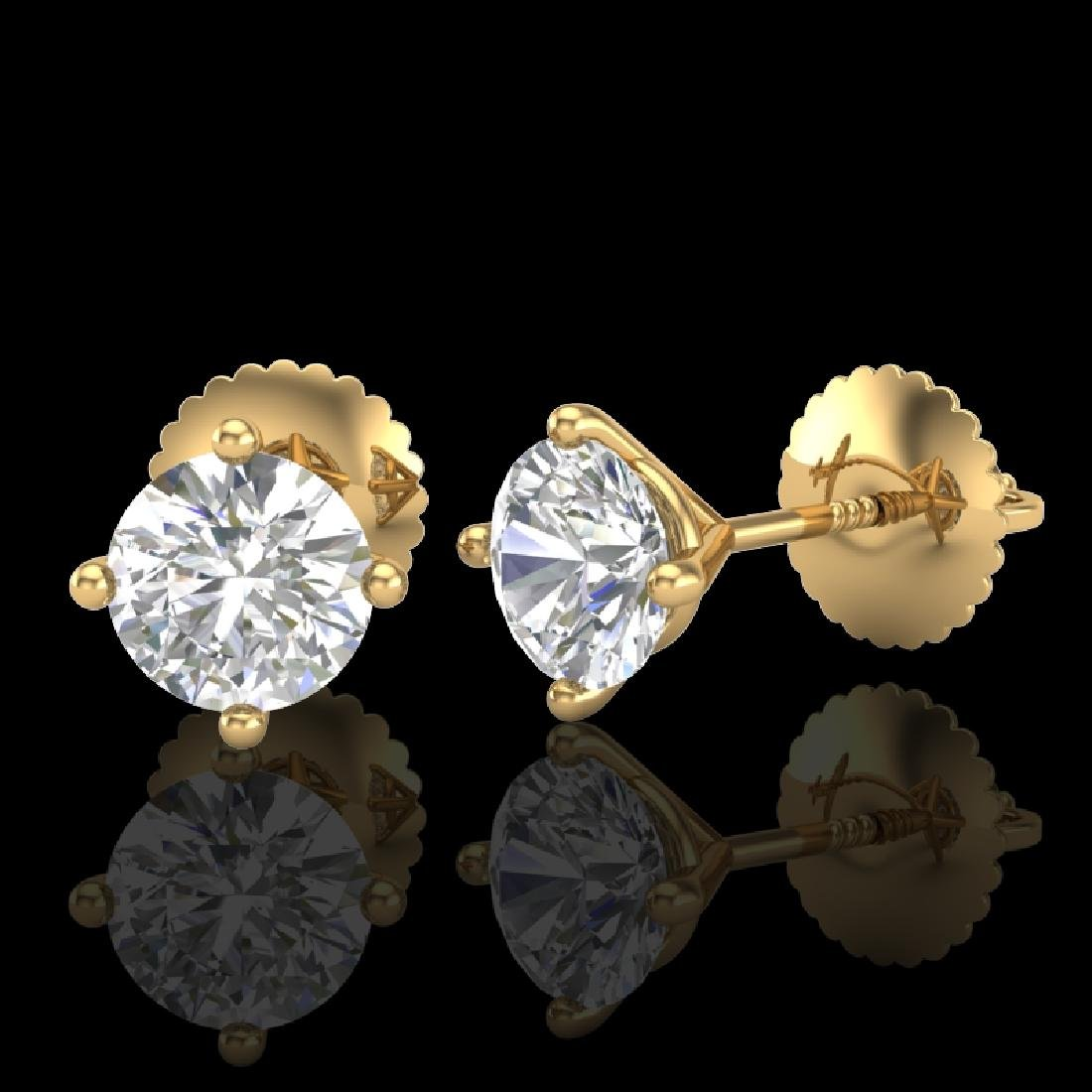 1.01 CTW VS/SI Diamond Solitaire Art Deco Stud Earrings - 2