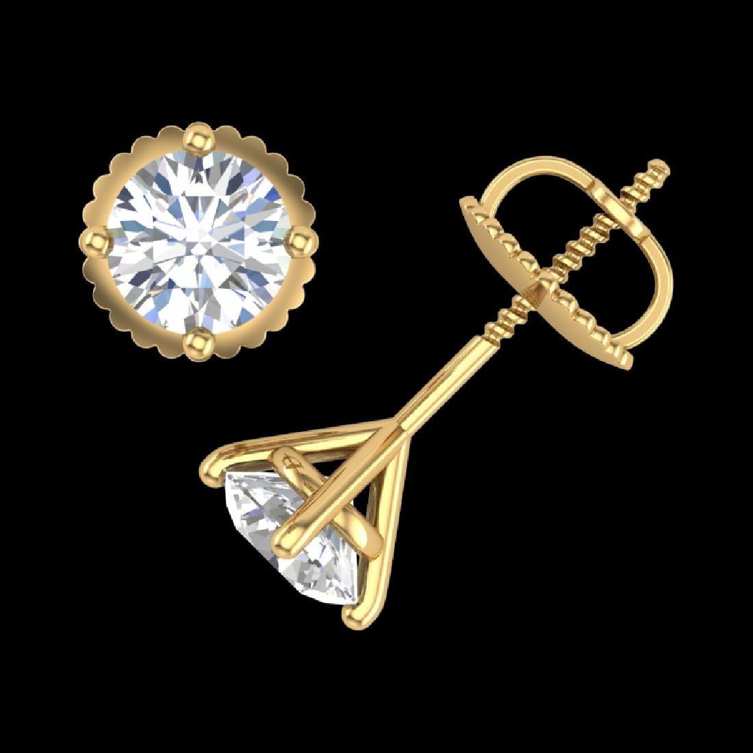 1.01 CTW VS/SI Diamond Solitaire Art Deco Stud Earrings - 3
