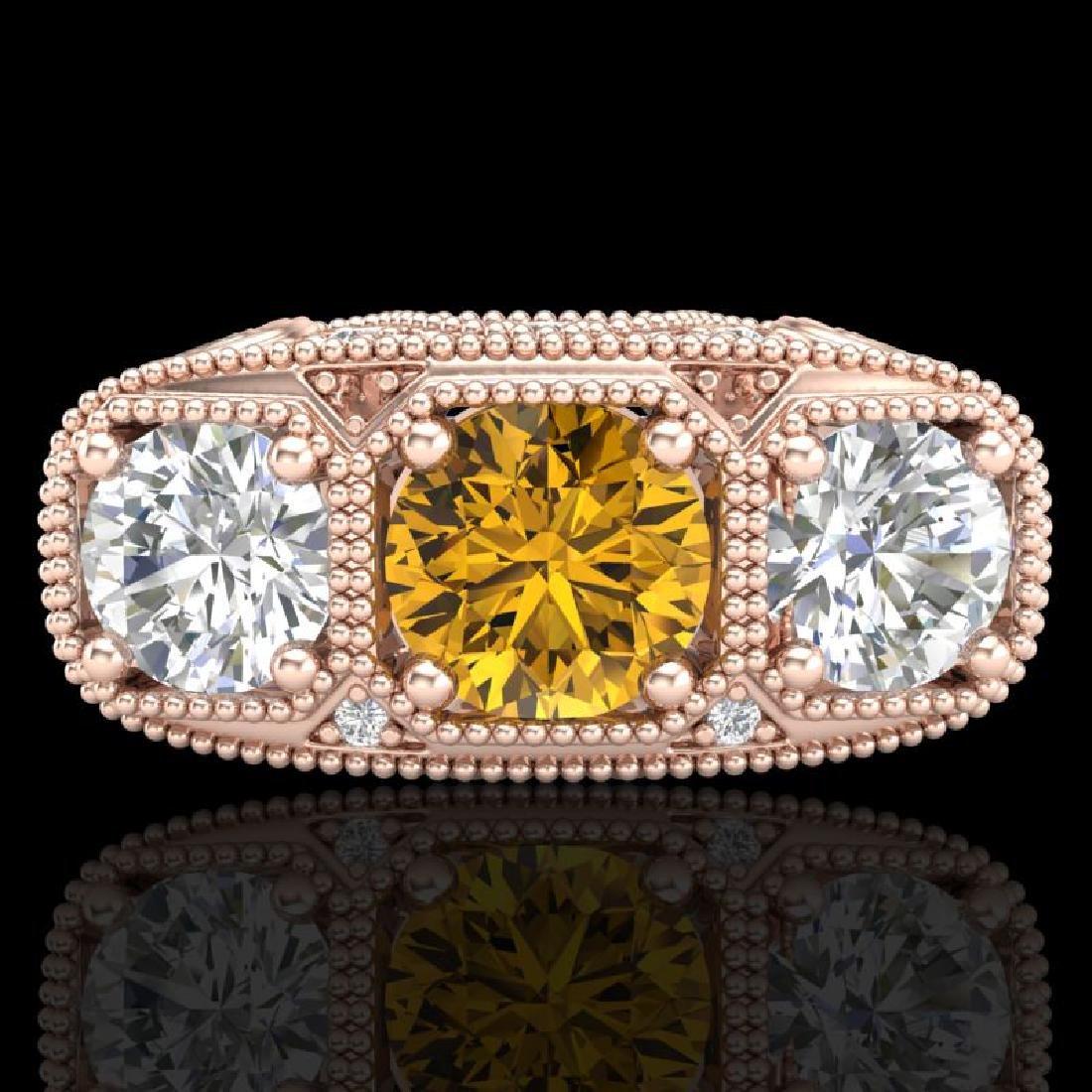 2.51 CTW Intense Fancy Yellow Diamond Art Deco 3 Stone - 2