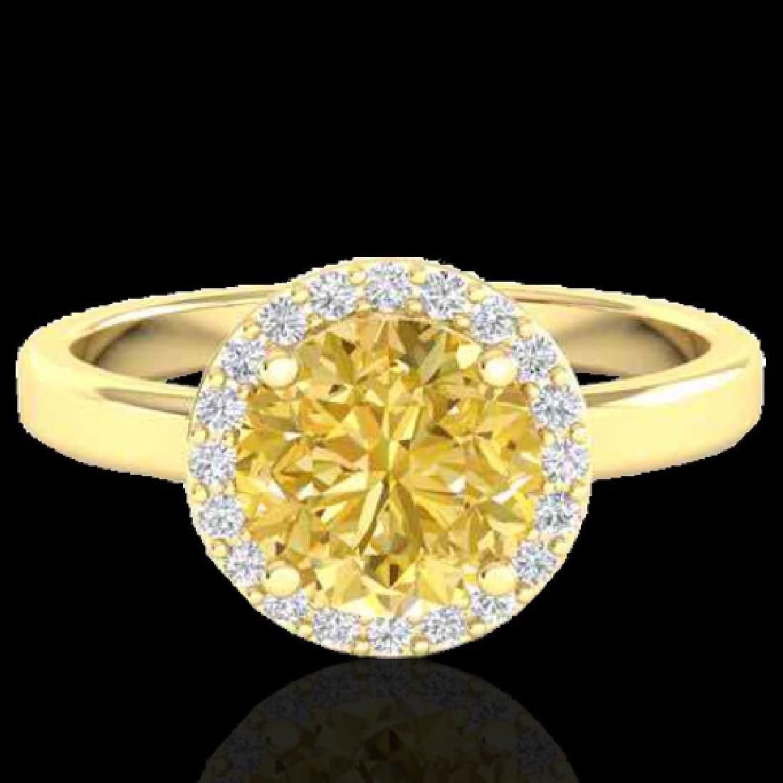 2 CTW Citrine & Halo VS/SI Diamond Micro Pave Ring