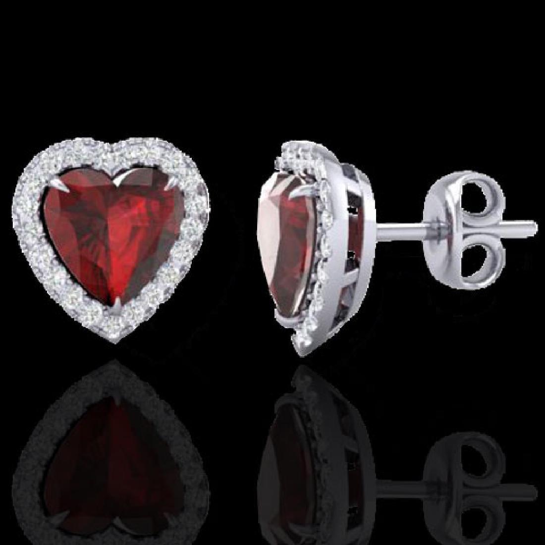 2.22 CTW Garnet & Micro Pave VS/SI Diamond Earrings - 2