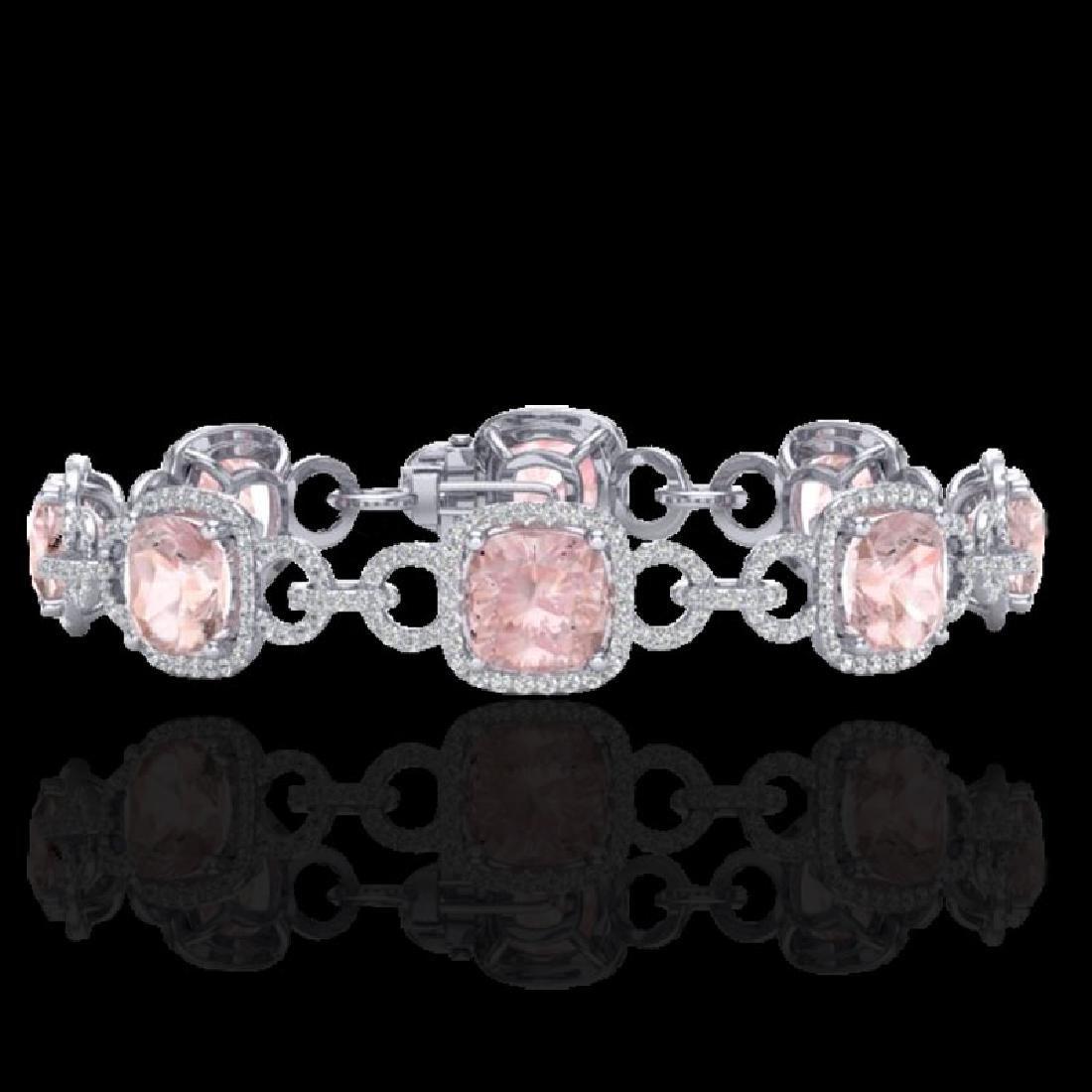 22 CTW Morganite & Micro VS/SI Diamond Bracelet 14K