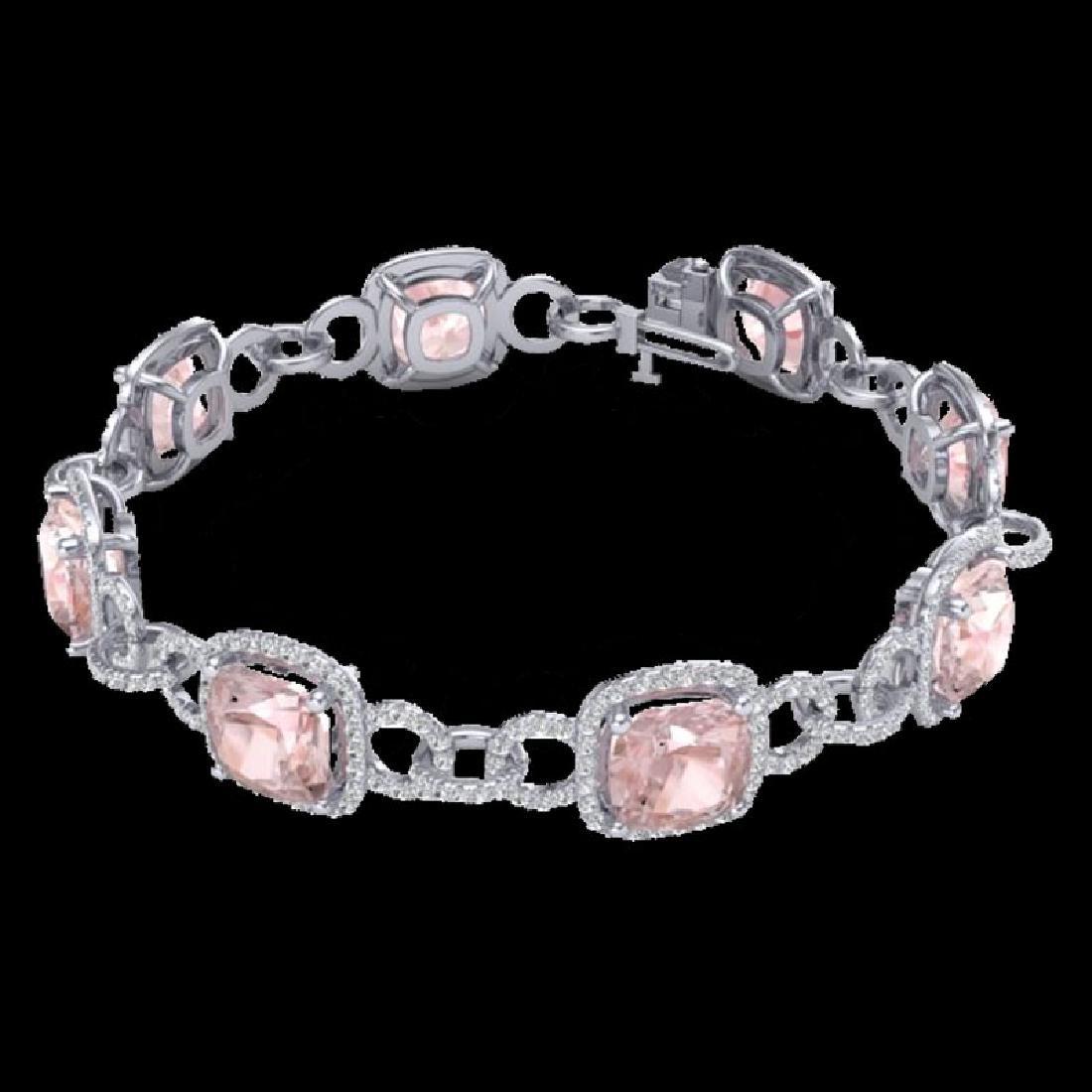 22 CTW Morganite & Micro VS/SI Diamond Bracelet 14K - 2