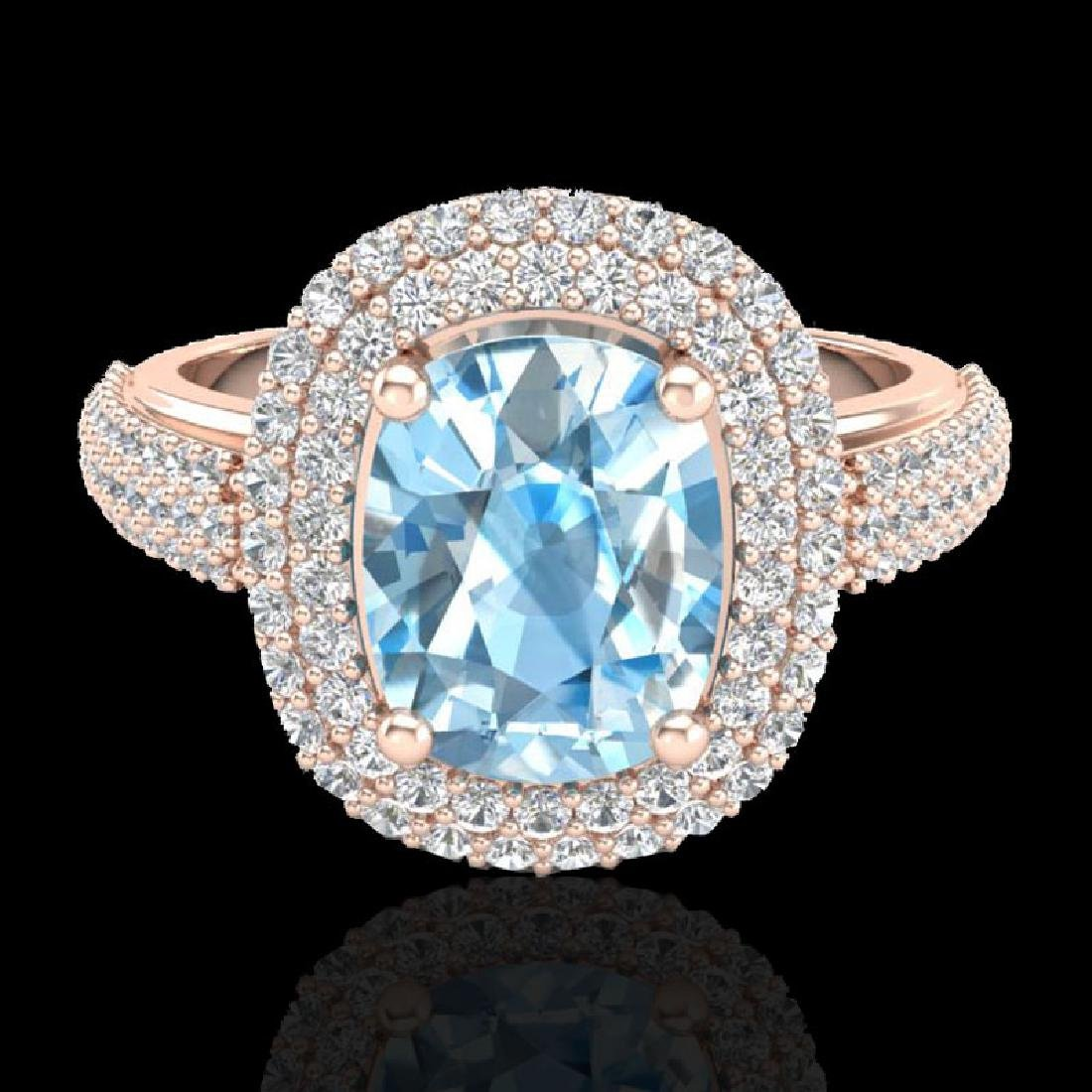 3.50 CTW Topaz & Micro Pave VS/SI Diamond Halo Ring 10K