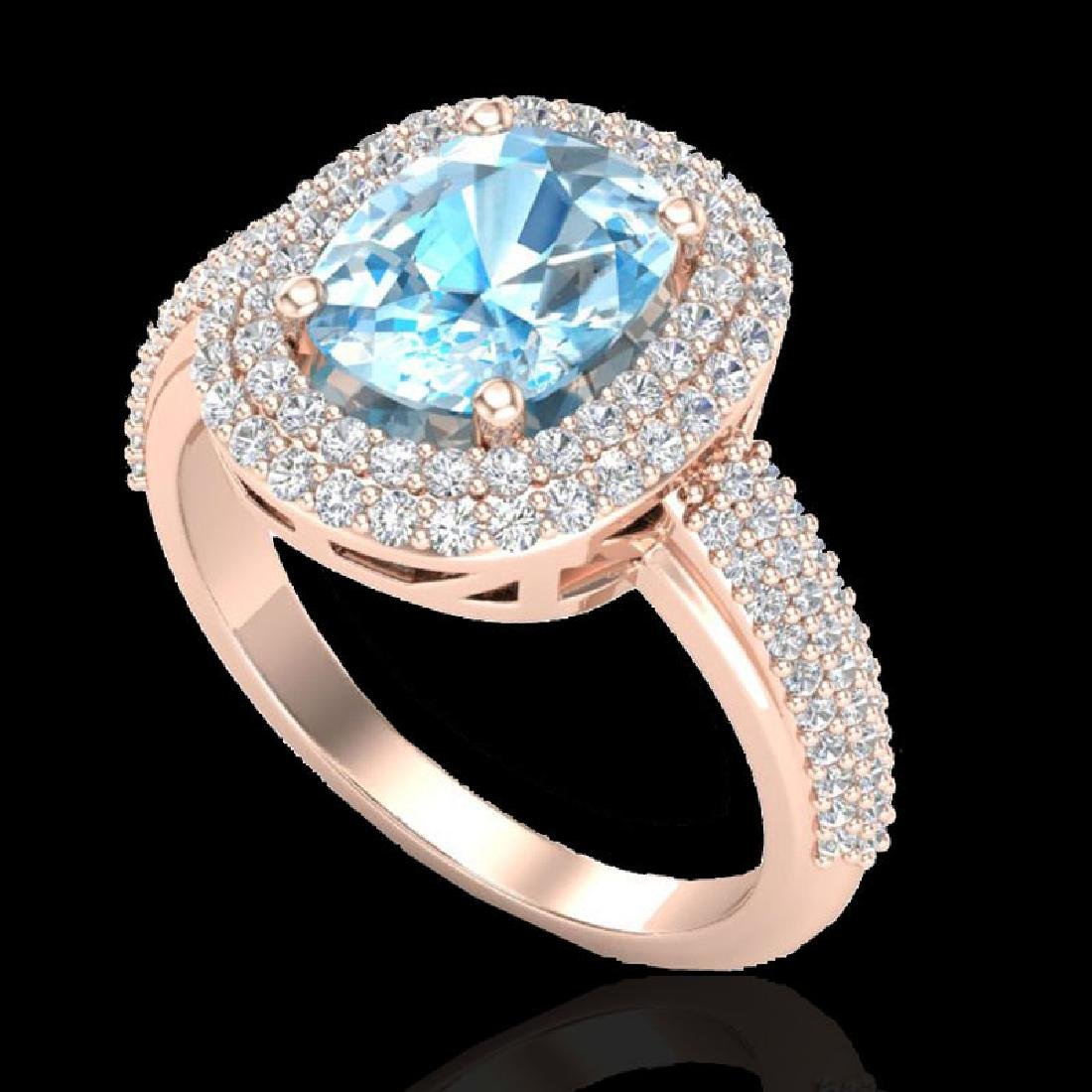 3.50 CTW Topaz & Micro Pave VS/SI Diamond Halo Ring 10K - 2