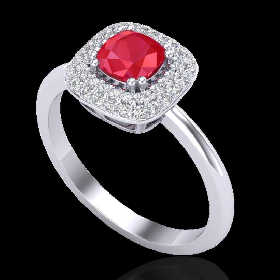 1.16 CTW Ruby & Micro Pave VS/SI Diamond Ring Double - 2