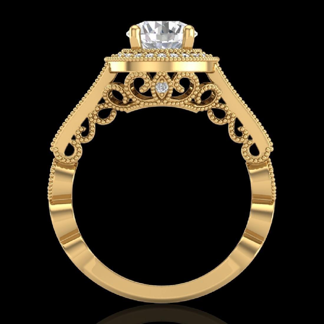 1.91 CTW VS/SI Diamond Solitaire Art Deco Ring 18K
