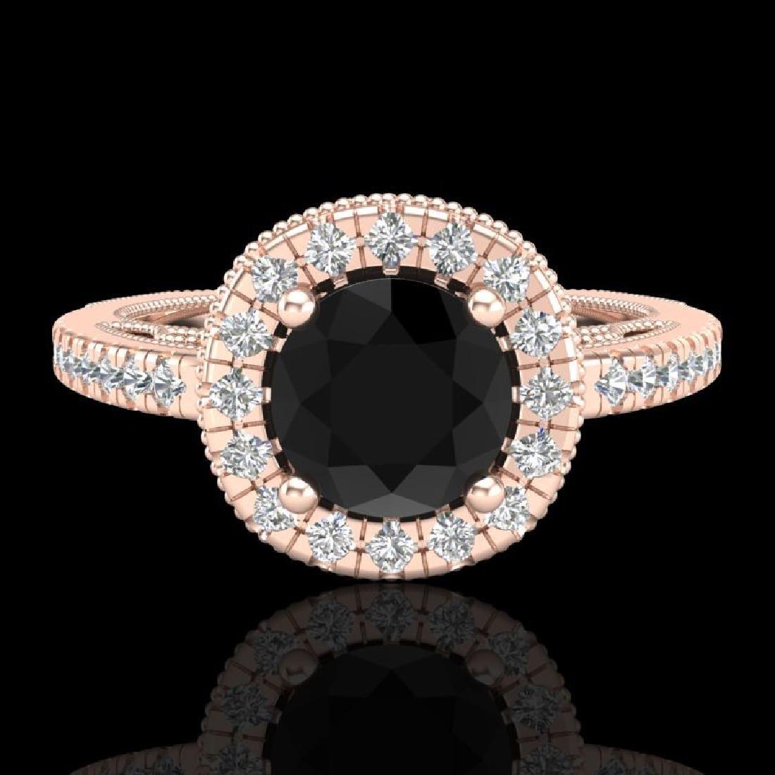 1.55 CTW Fancy Black Diamond Solitaire Engagement Art - 2