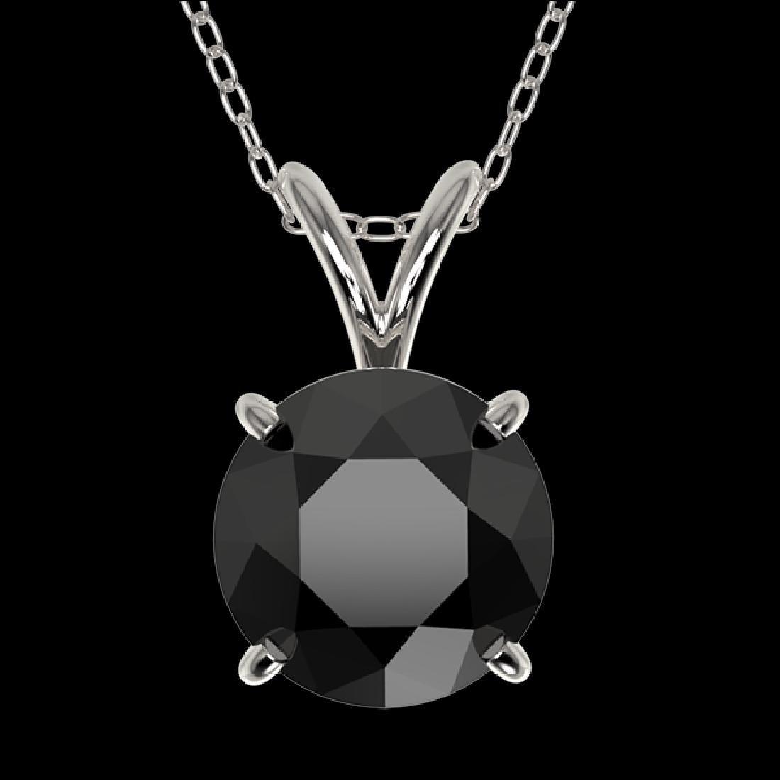 1.50 CTW Fancy Black VS Diamond Solitaire Necklace 10K