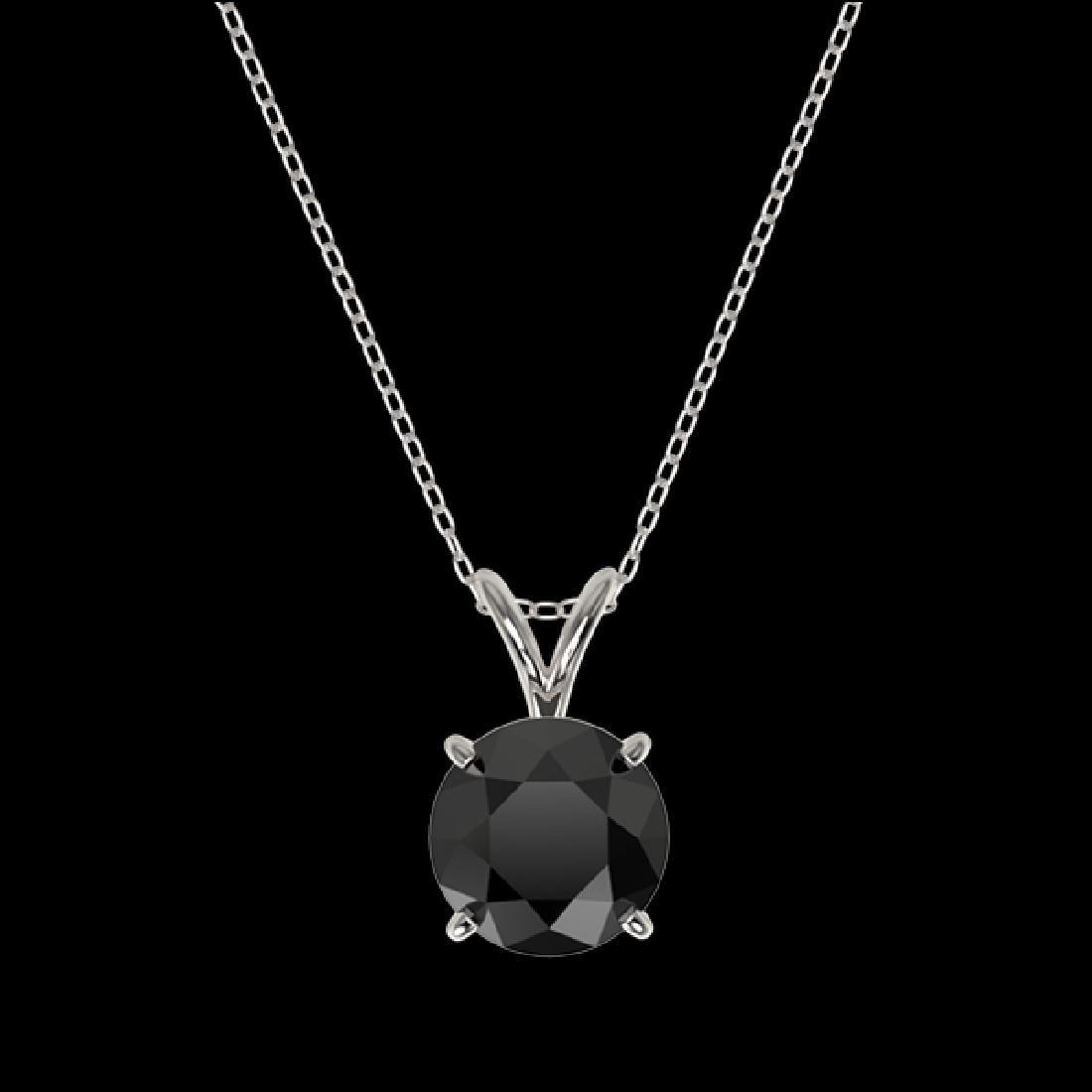 1.50 CTW Fancy Black VS Diamond Solitaire Necklace 10K - 3