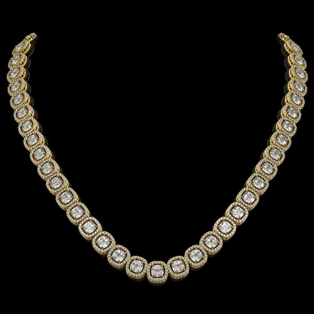 32.64 CTW Cushion Diamond Designer Necklace 18K Yellow