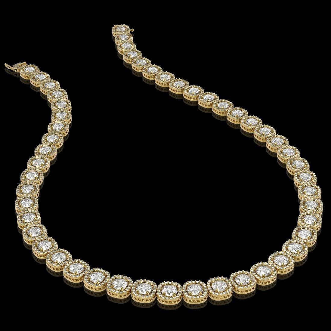 32.64 CTW Cushion Diamond Designer Necklace 18K Yellow - 2