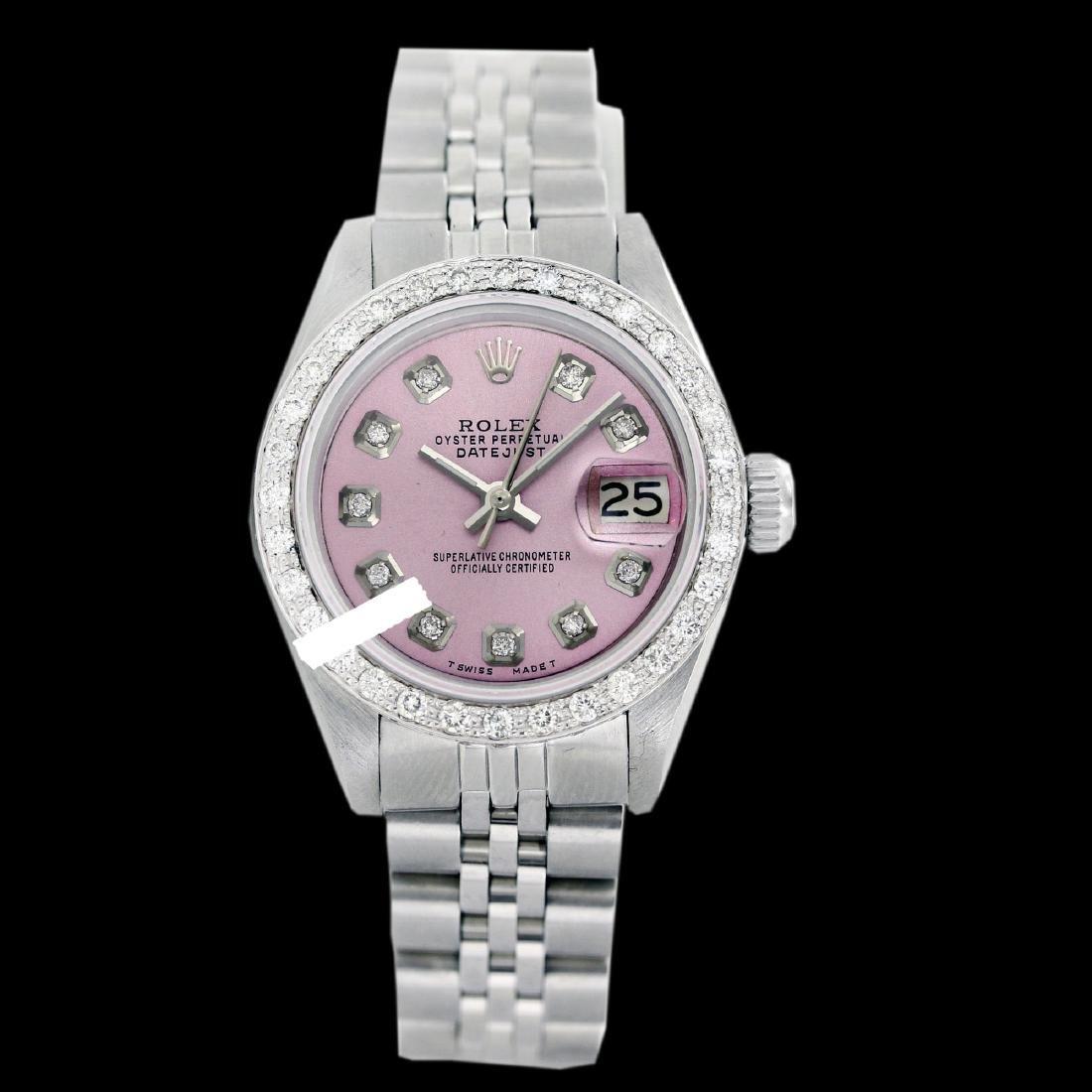 Rolex Men's Stainless Steel, QuickSet, Diamond Dial &