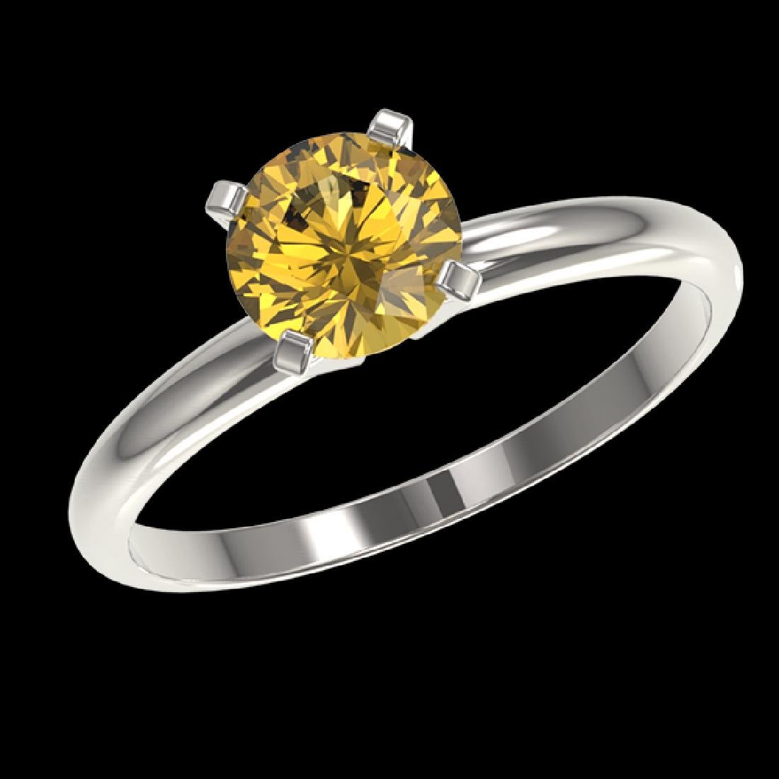 1.01 CTW Certified Intense Yellow SI Diamond Solitaire - 2