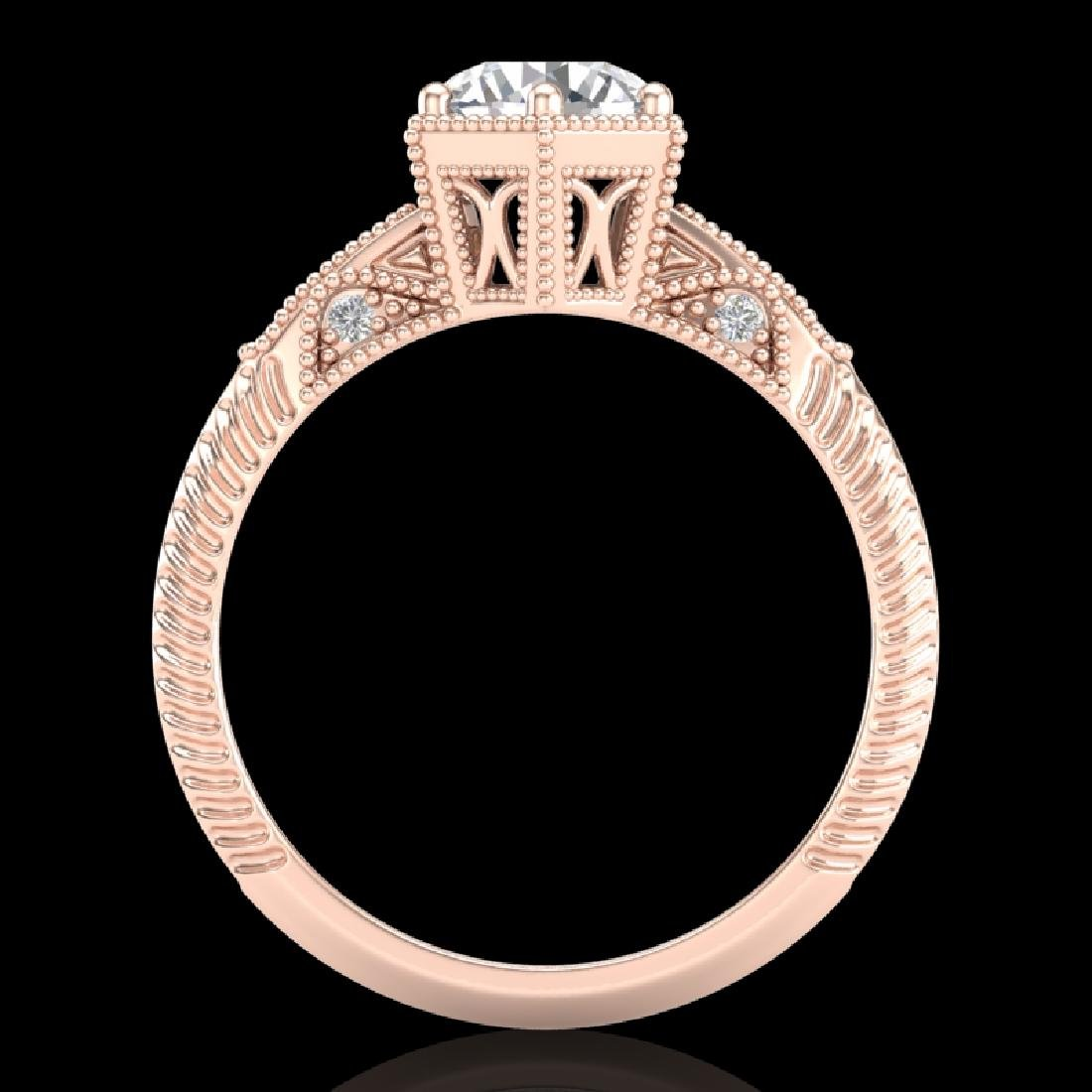 1.17 CTW VS/SI Diamond Solitaire Art Deco Ring 18K Rose