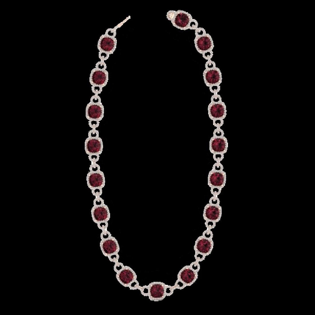 66 CTW Garnet & Micro VS/SI Diamond Eternity Necklace - 2