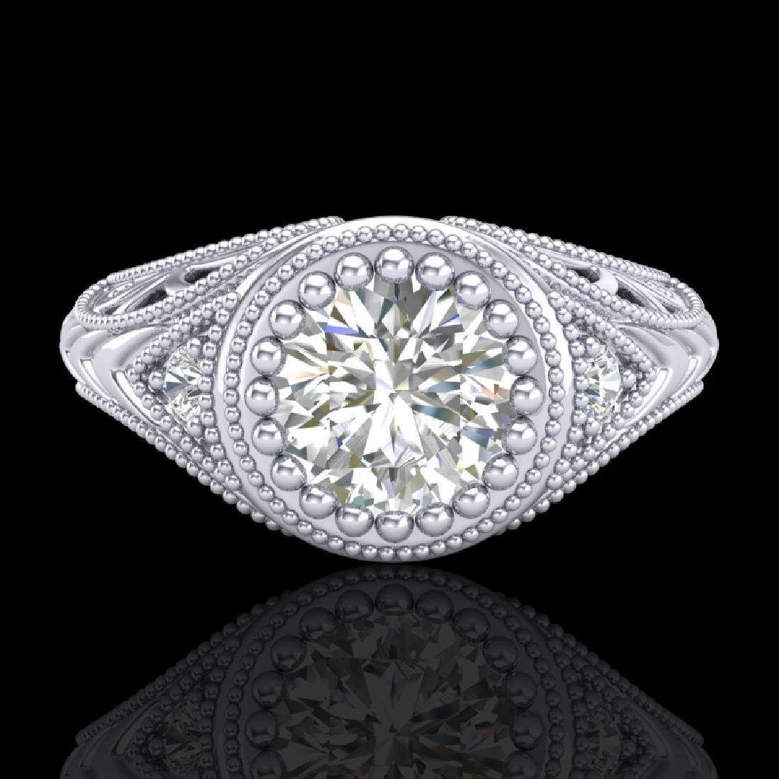 1.07 CTW VS/SI Diamond Art Deco Ring 18K White Gold - 2