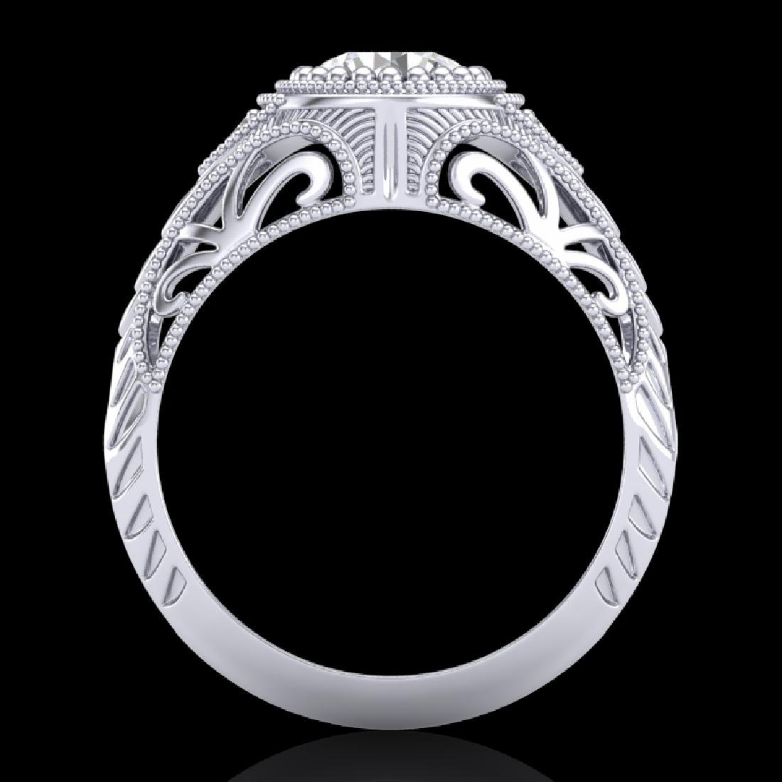 1.07 CTW VS/SI Diamond Art Deco Ring 18K White Gold - 3