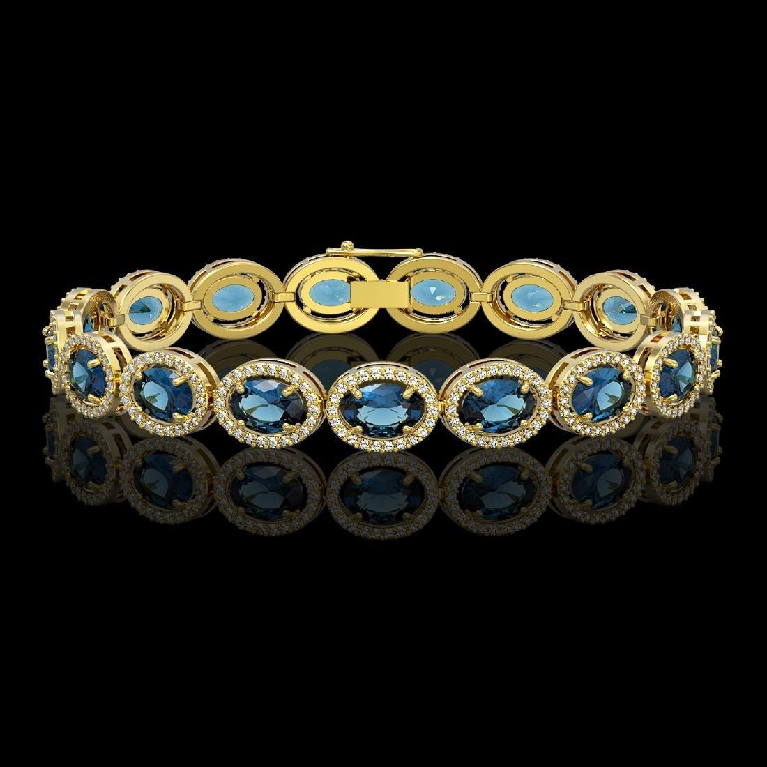 24.32 CTW London Topaz & Diamond Halo Bracelet 10K