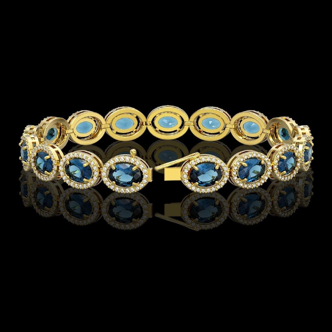 24.32 CTW London Topaz & Diamond Halo Bracelet 10K - 2