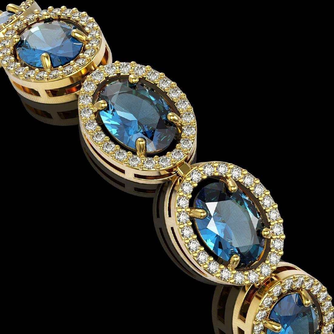 24.32 CTW London Topaz & Diamond Halo Bracelet 10K - 3