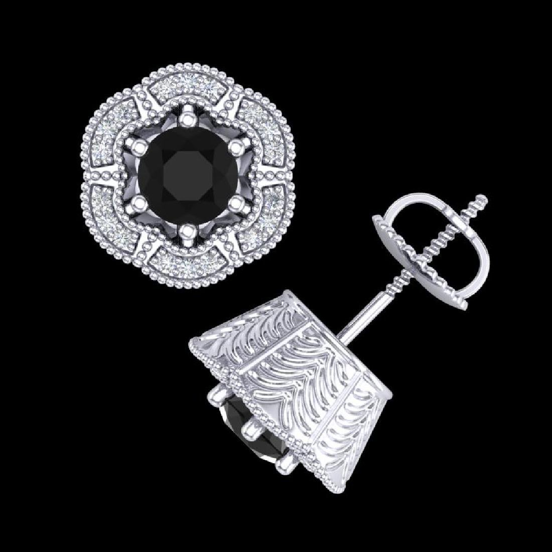 1.51 CTW Fancy Black Diamond Solitaire Art Deco Stud - 3