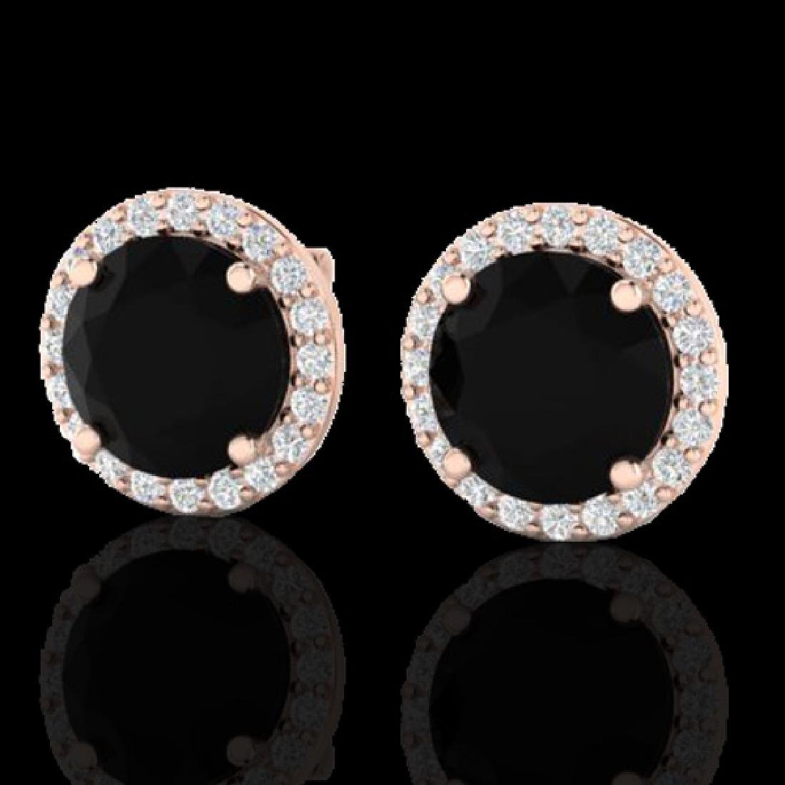 4 CTW Halo Black VS/SI Diamond Micro Pave Earrings 14K