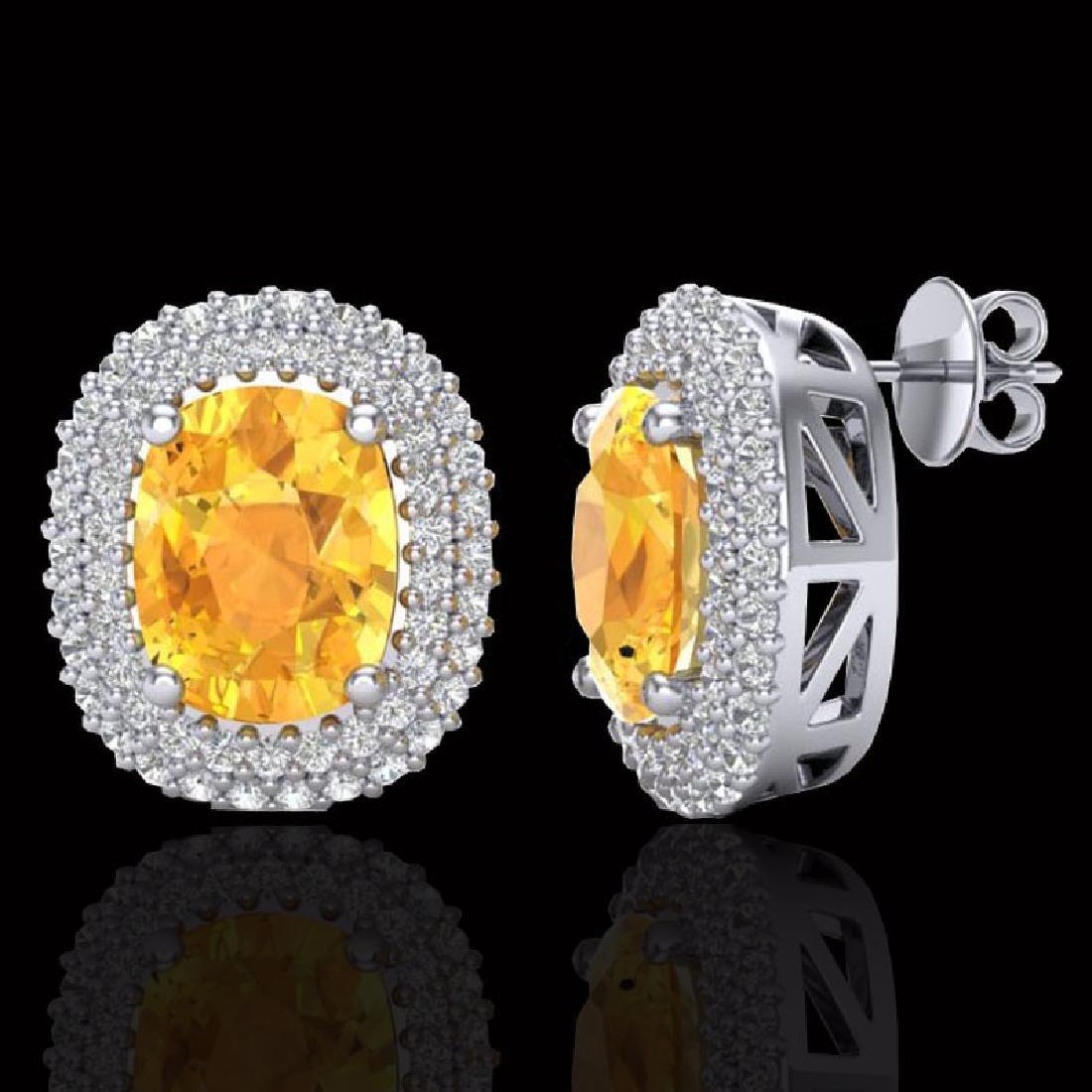 6 CTW Citrine & Micro Pave VS/SI Diamond Halo Earrings - 2