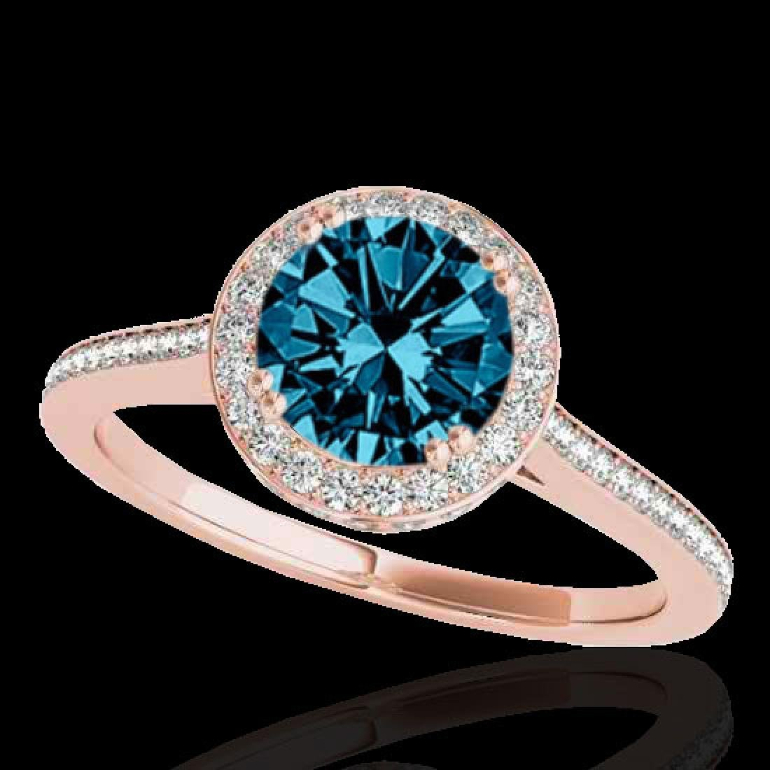 2.03 CTW SI Certified Fancy Blue Diamond Solitaire Halo