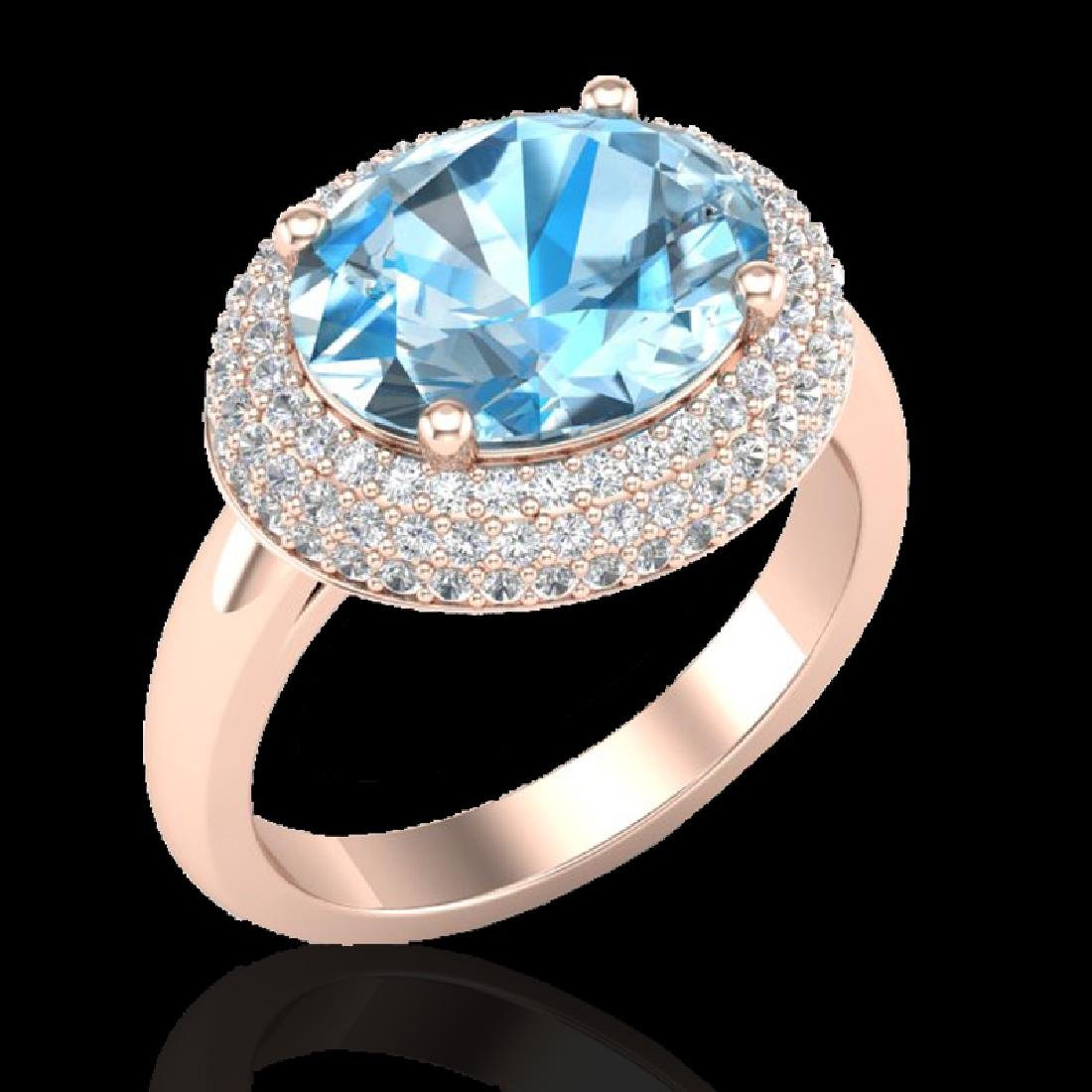 5 CTW Sky Blue Topaz & Micro Pave VS/SI Diamond Ring