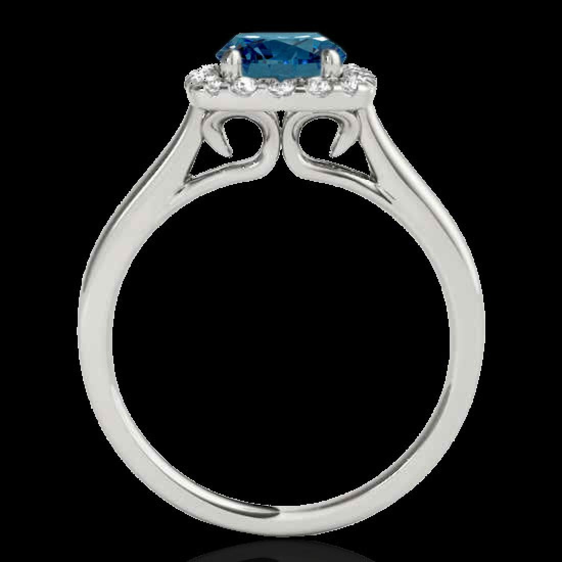 1.37 CTW SI Certified Fancy Blue Diamond Solitaire Halo - 2