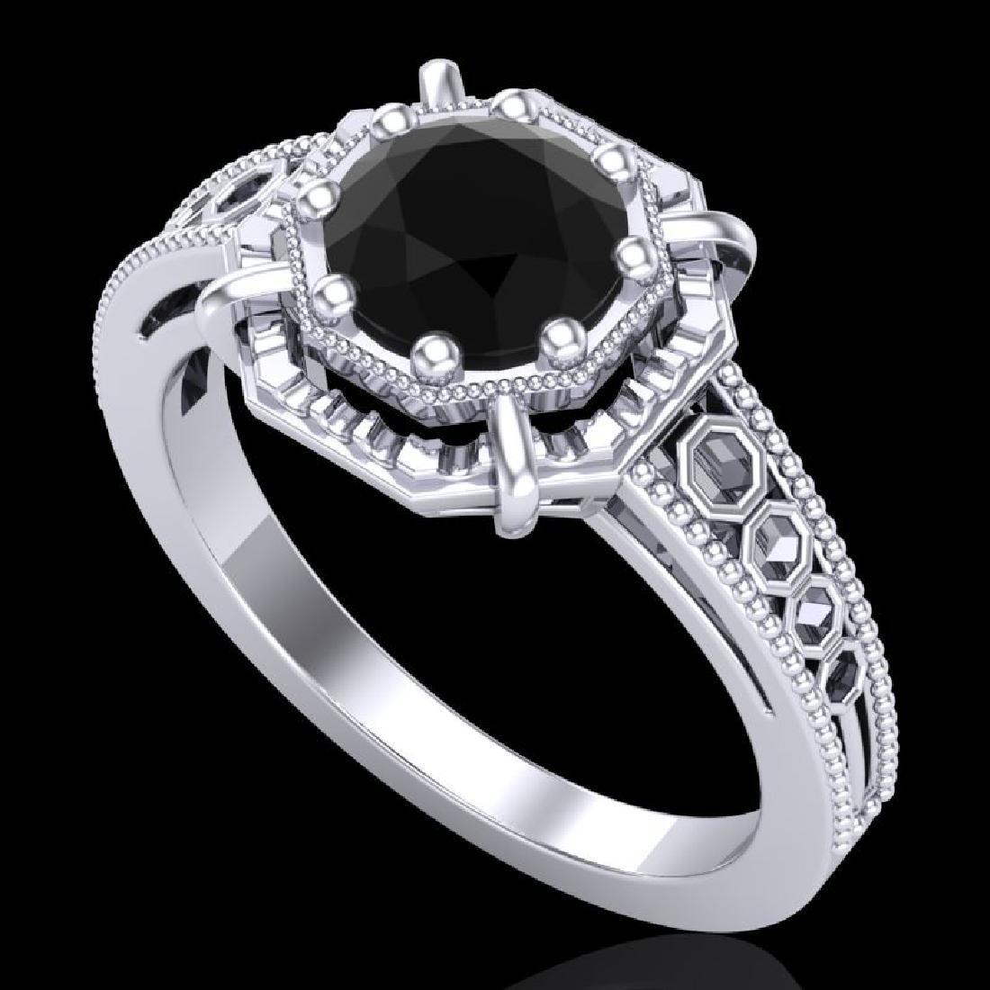 1 CTW Fancy Black Diamond Solitaire Engagement Art Deco