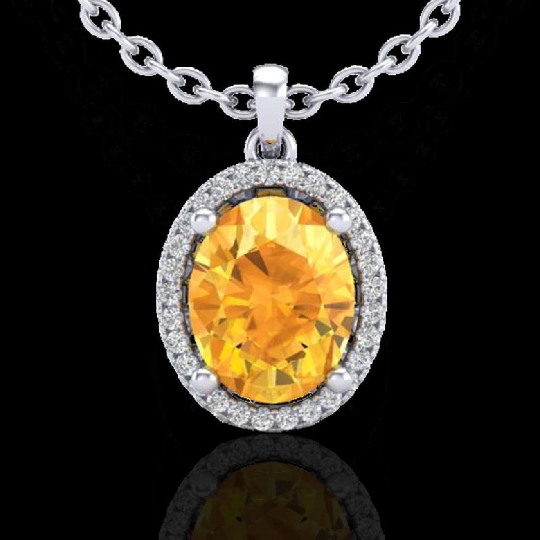 2.50 CTW Citrine & Micro Pave VS/SI Diamond Necklace - 2