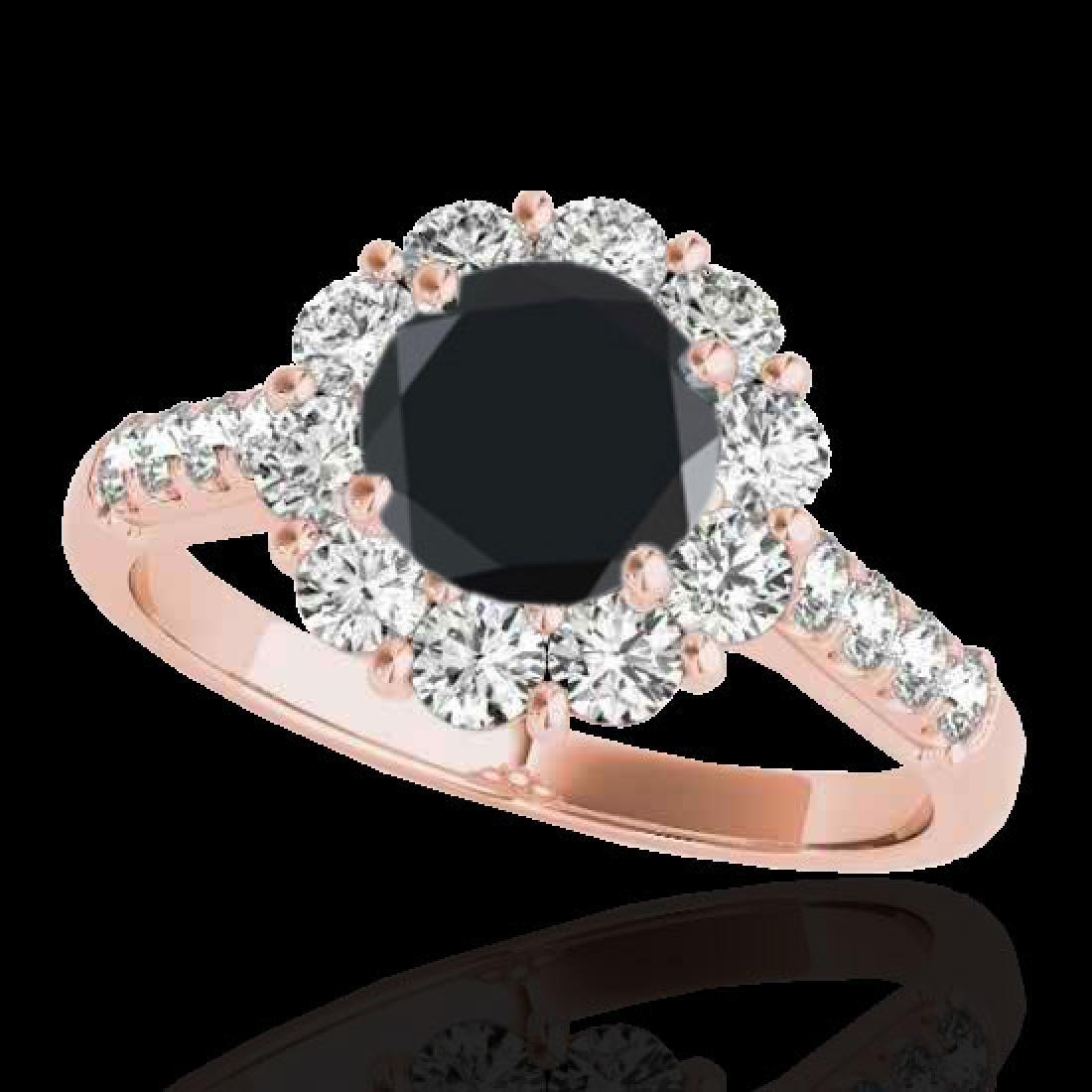 2.75 CTW Certified VS Black Diamond Solitaire Halo Ring