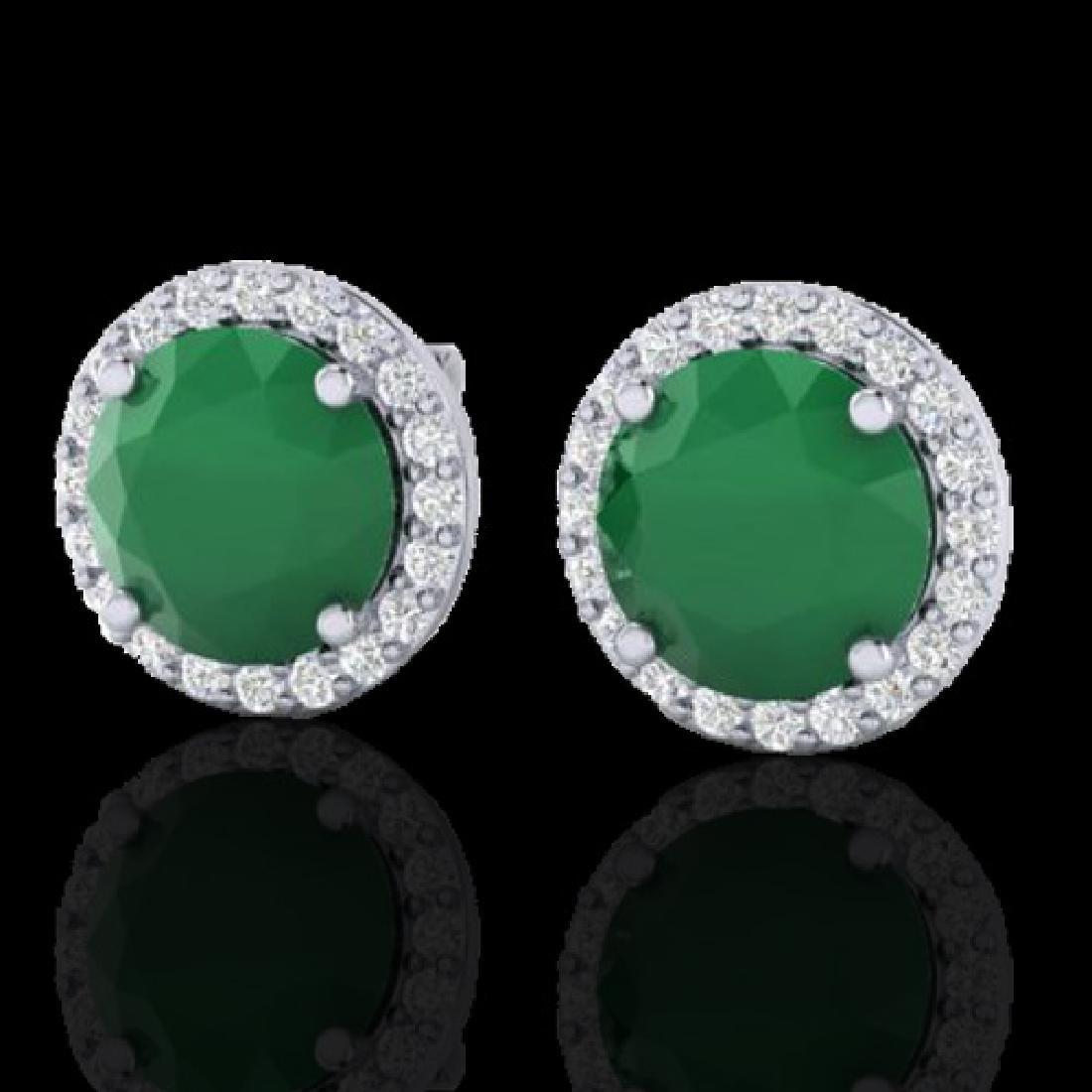 4 CTW Emerald & Halo VS/SI Diamond Micro Pave Earrings