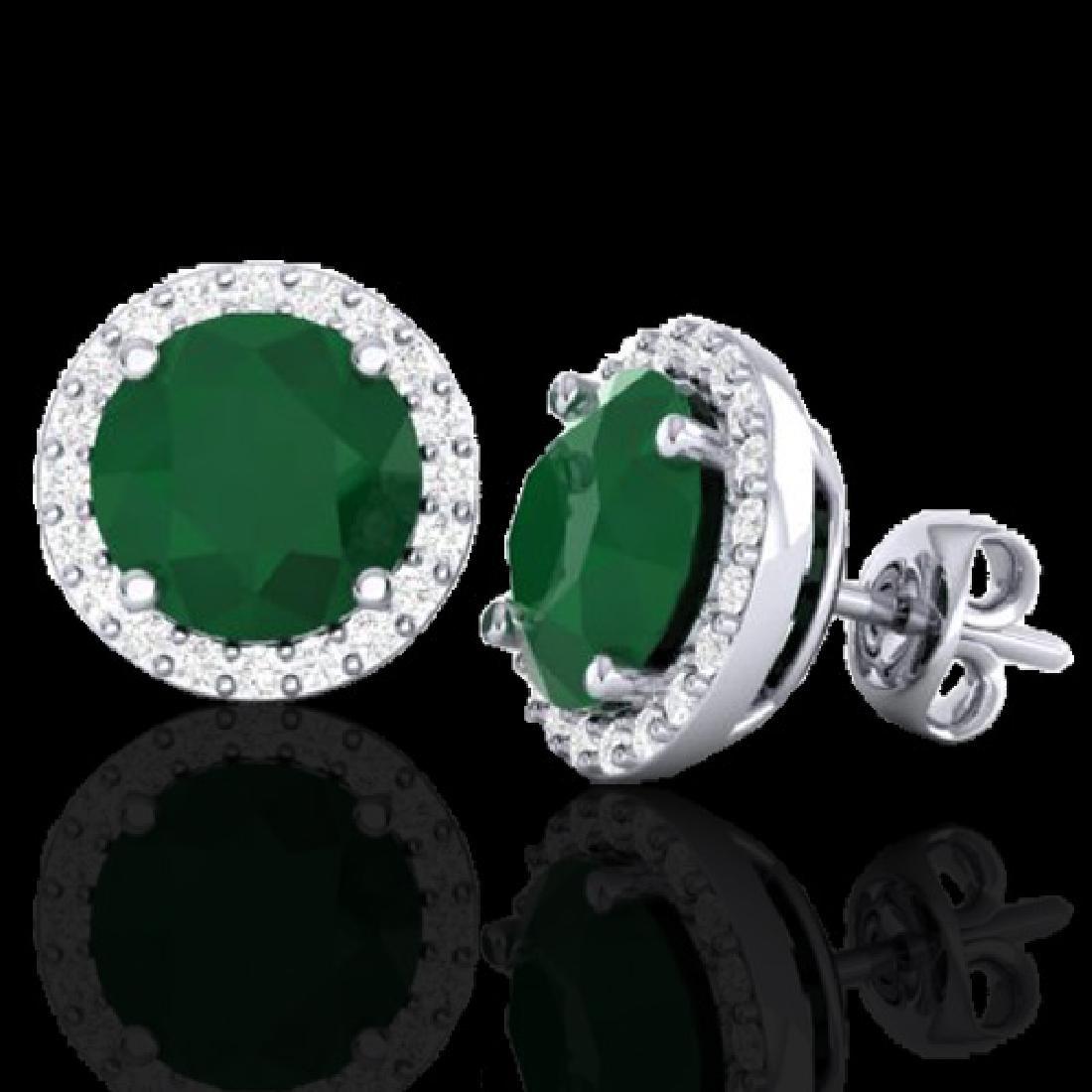 4 CTW Emerald & Halo VS/SI Diamond Micro Pave Earrings - 2