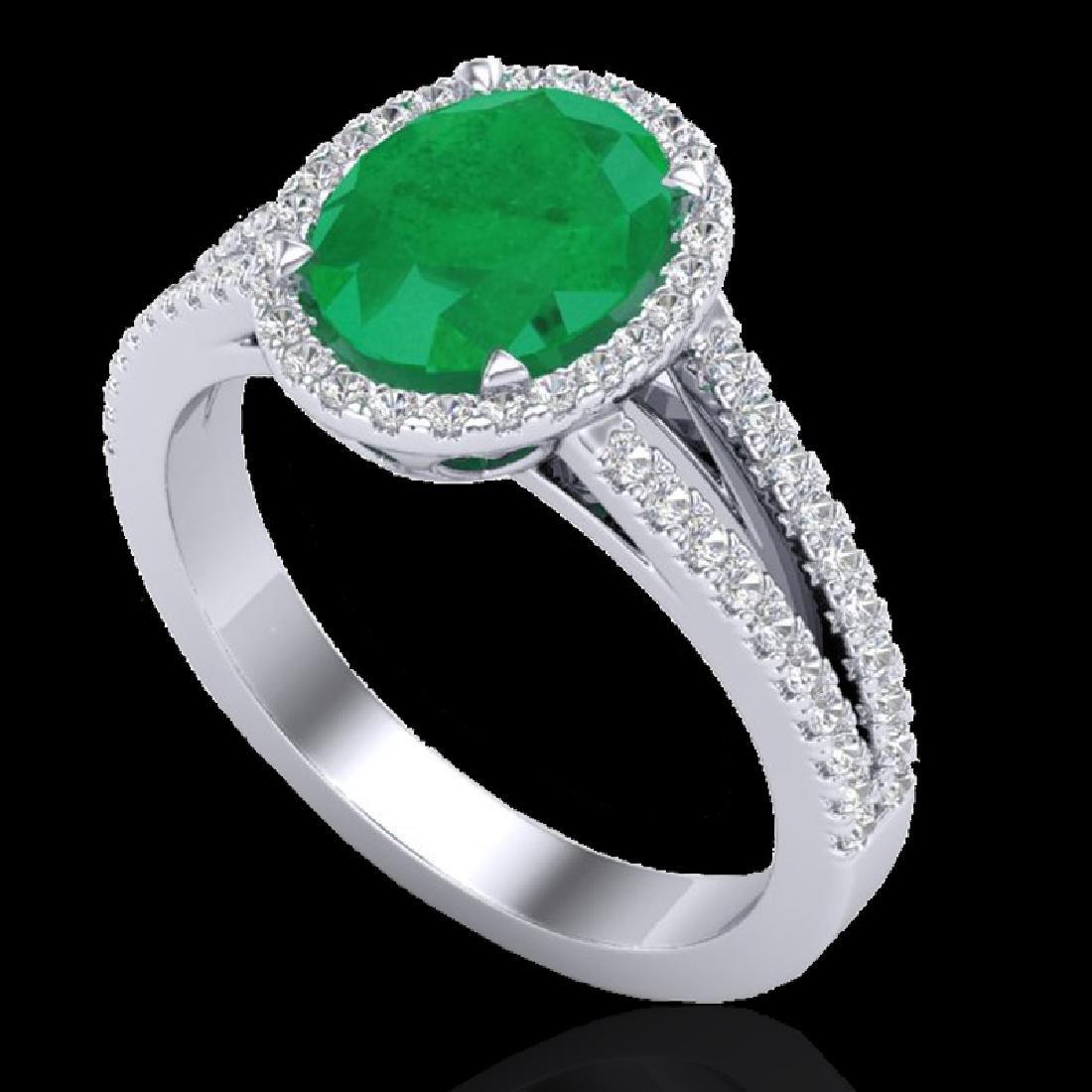 3 CTW Emerald & Micro VS/SI Diamond Halo Solitaire Ring - 2