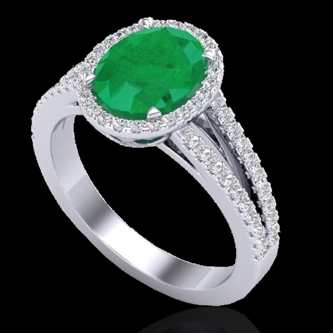 3 CTW Emerald & Micro VS/SI Diamond Halo Solitaire Ring - 2