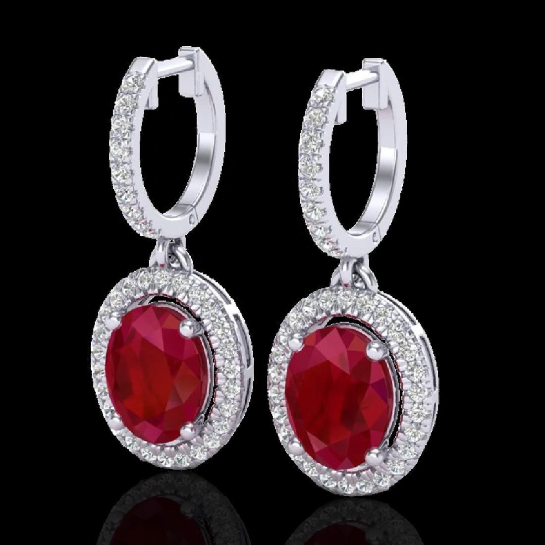 4.25 CTW Ruby & Micro Pave VS/SI Diamond Earrings