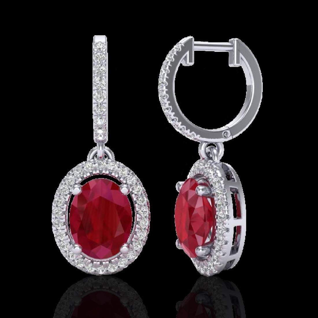 4.25 CTW Ruby & Micro Pave VS/SI Diamond Earrings - 2
