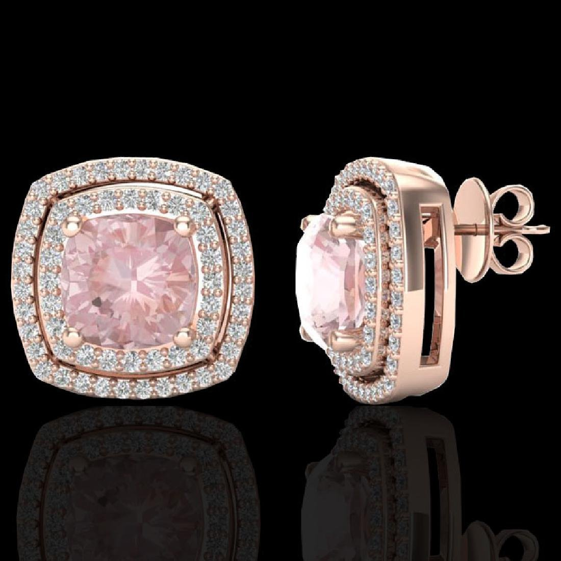 3.95 CTW Morganite & Micro Pave VS/SI Diamond Halo - 2