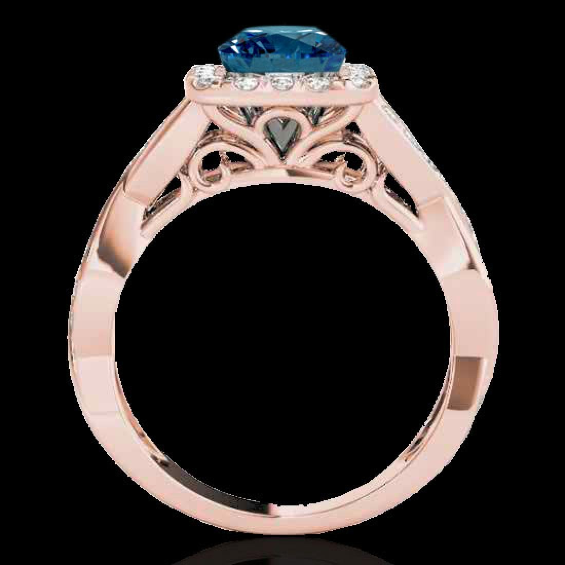 1.65 CTW SI Certified Fancy Blue Diamond Solitaire Halo - 2