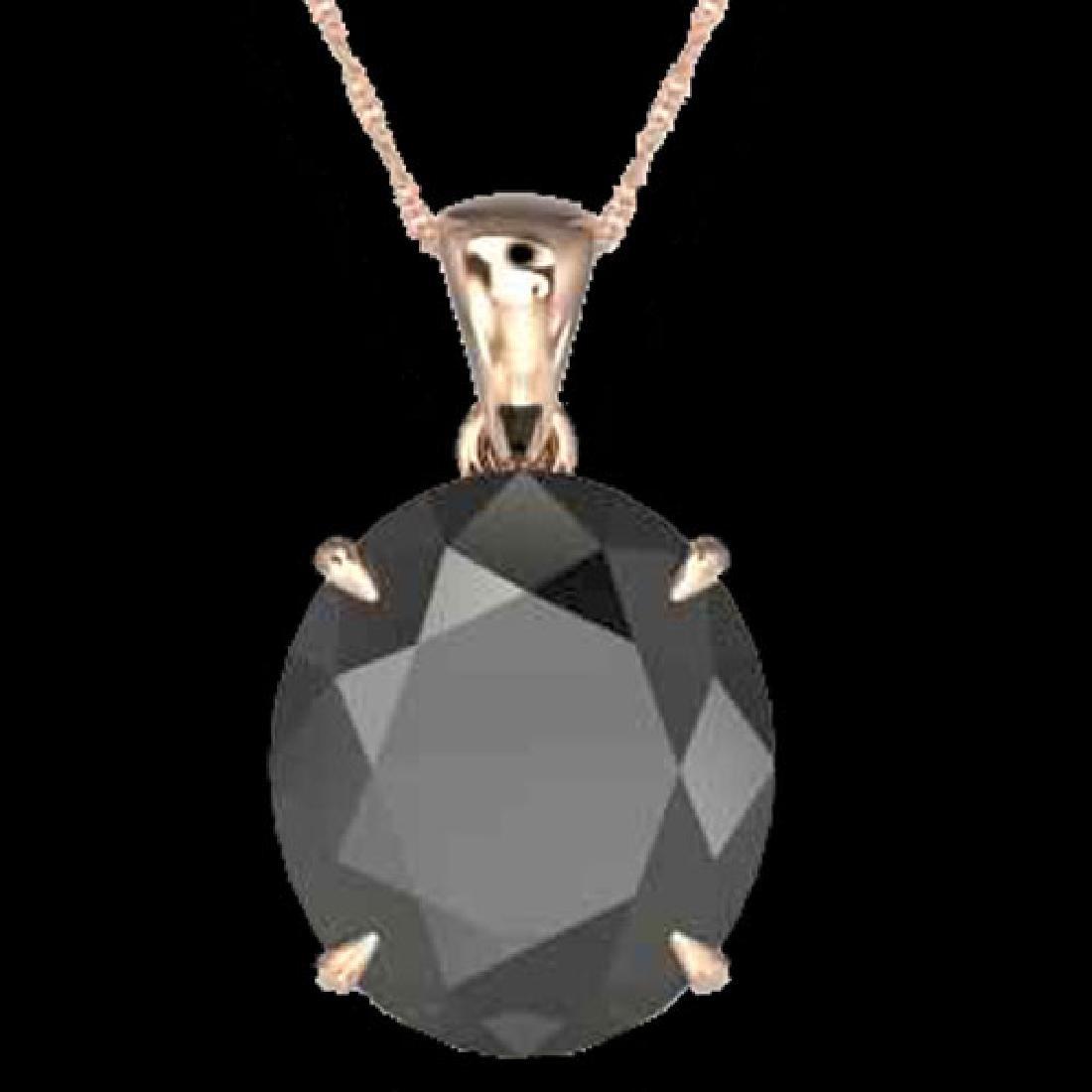 9 CTW Black VS/SI Diamond Designer Solitaire Necklace - 2