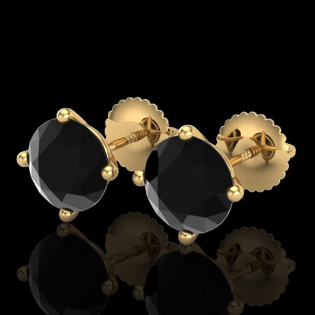 3.01 CTW Fancy Black Diamond Solitaire Art Deco Stud