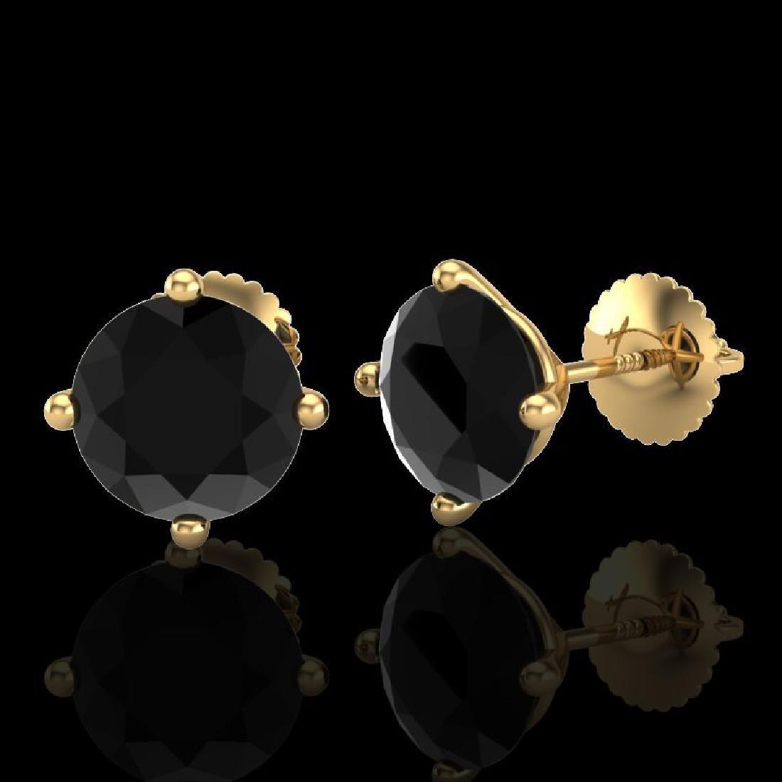 3.01 CTW Fancy Black Diamond Solitaire Art Deco Stud - 2